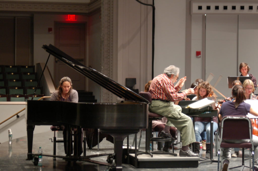 Miri Yampolsky rehearsing Beethoven with the Cornell Symphony Orchestra, Leon Fleisher conducting