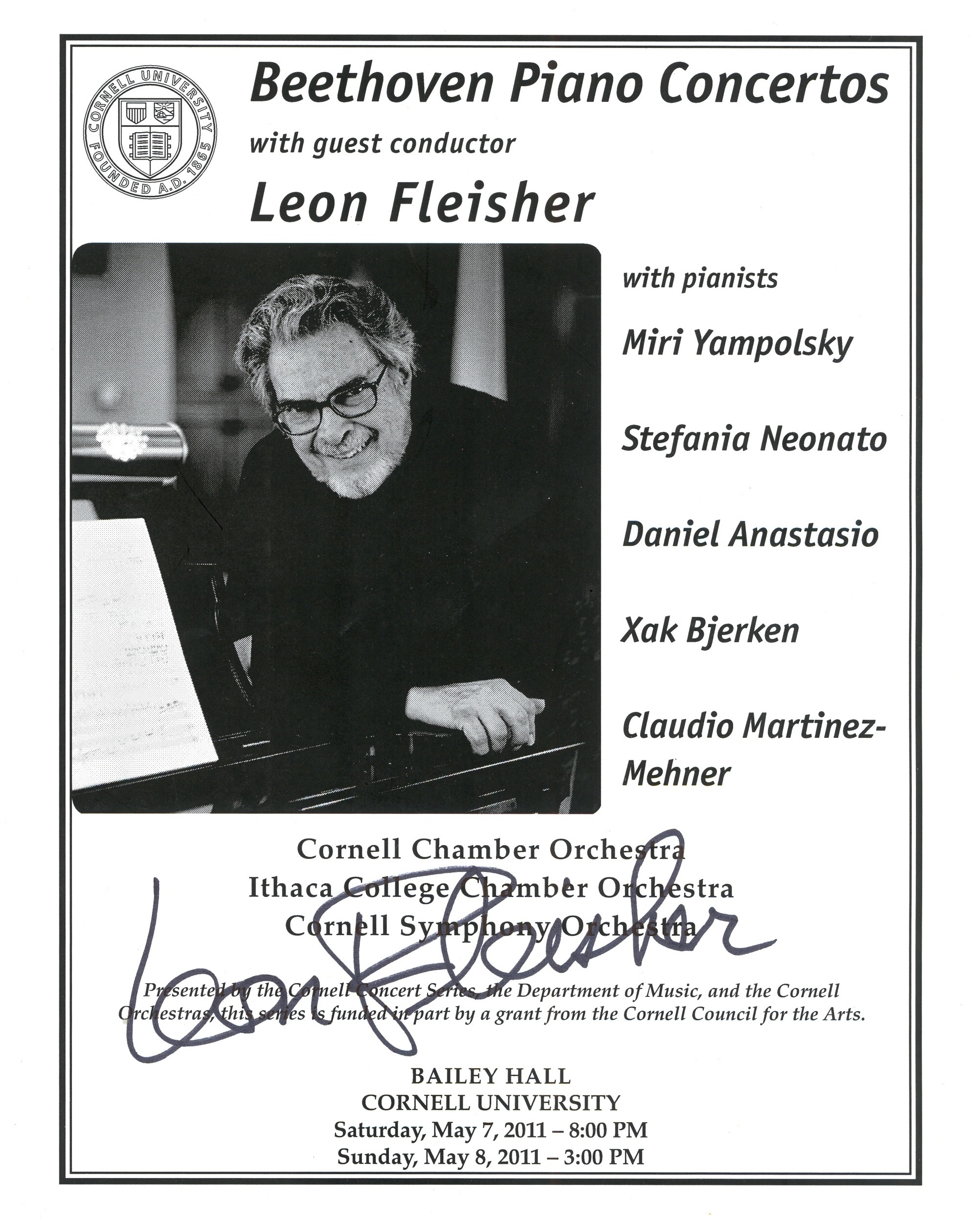 Program for Beethoven Piano Concertos with guest conductor Leon Fleisher