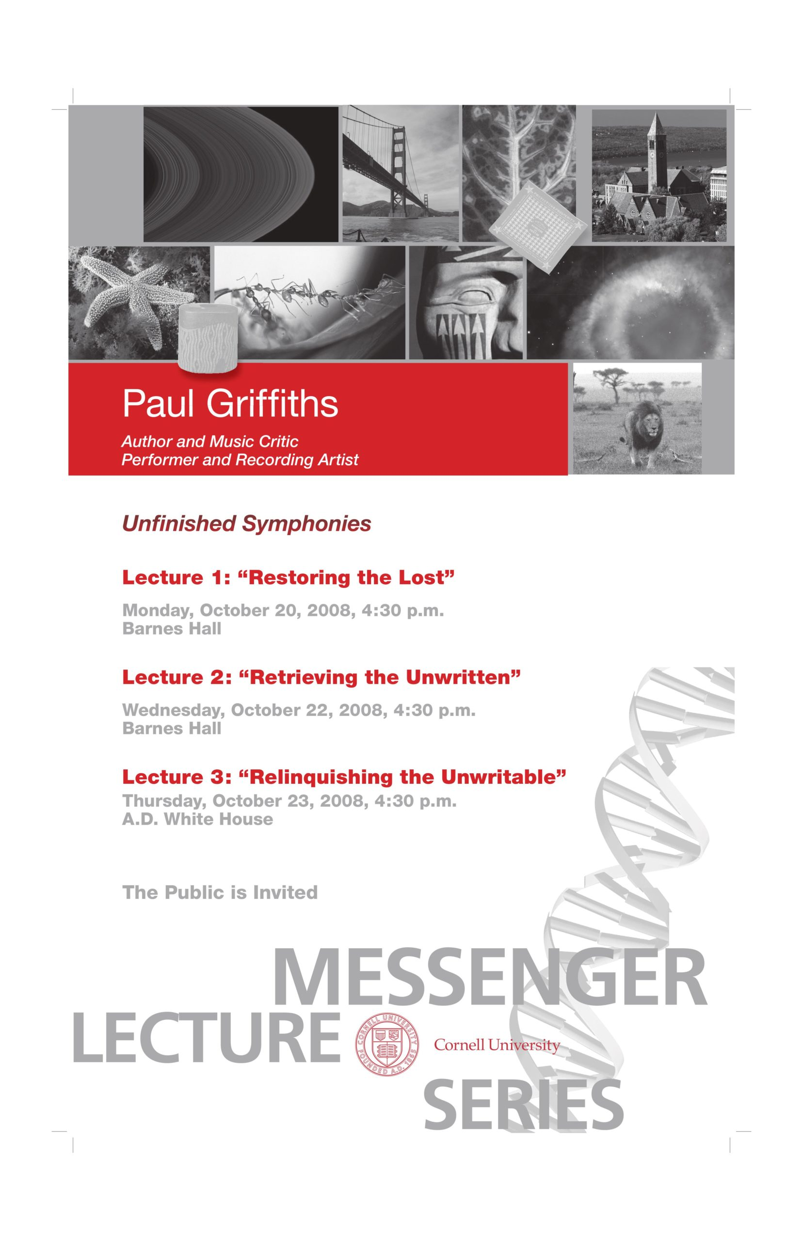 "Poster for Paul Griffiths' ""Unfinished Symphonies"""