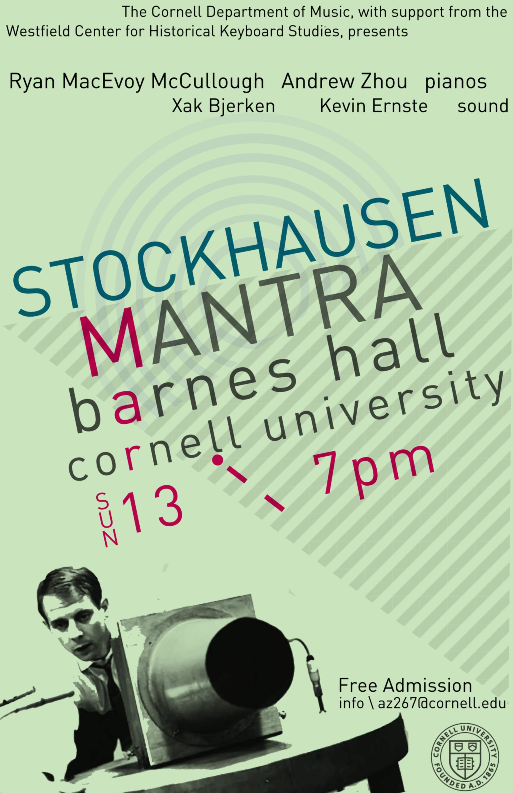 Poster for a performance of Stockhausen's Mantra, March 13, 2016